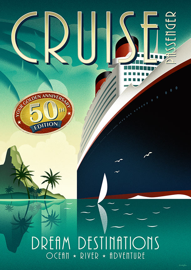 RETRO ILLUSTRATION Cruise Passenger Cover And Poster.