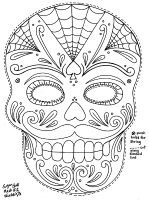 Sugar Skull Coloring Mask