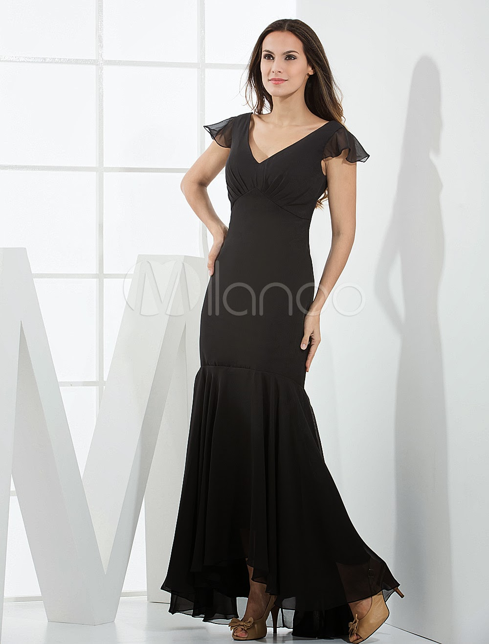 China Wholesale Dresses - Elegant Black Mermaid Trumpet Satin Bridesmaid Dress