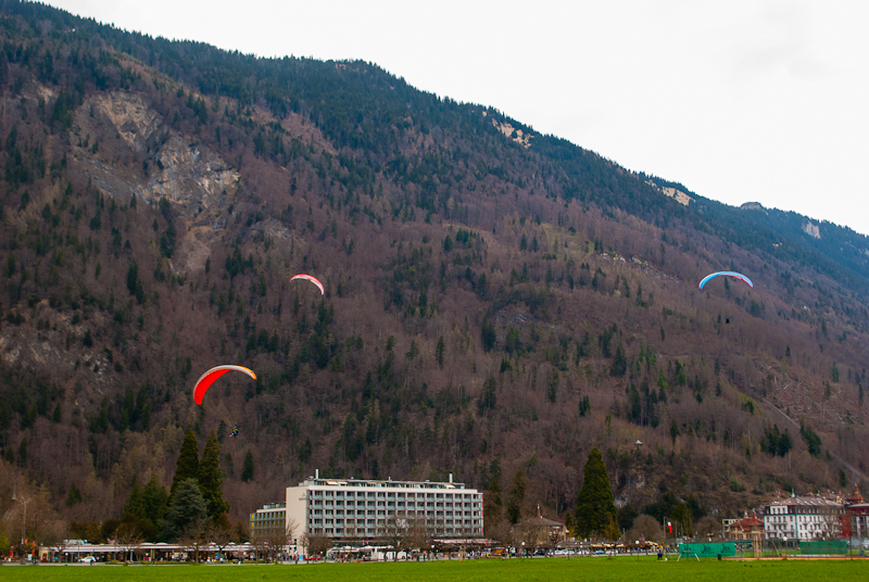 image of gliders paragliding and landing in switzerland interalekn