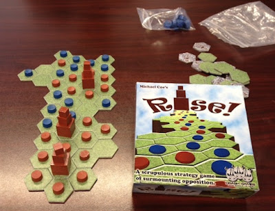 Rise! board game prototype in play