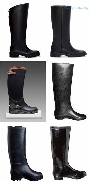 Botas negras de agua y, botas negras con suela gruesa O/I 13/14