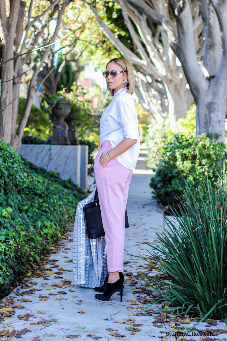 american apparel pants, zara,  white shirt, blogger, best blogger, ton ten fashion bloggers, los Angeles fashion bloggers, best fashion blogger, black fashion blogger, blonde fashuon blogger, blonde hair inspiration, Los Angeles, giorgio armani sunglasses, Shoe Dazzle