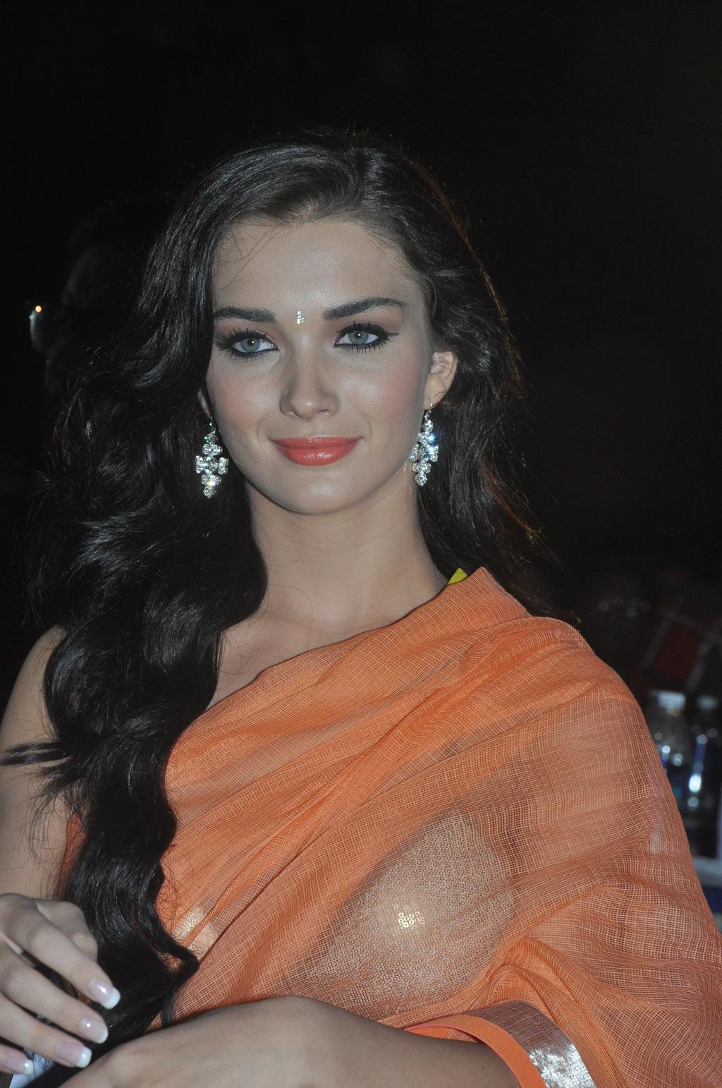 Amy Jackson Latest Stills Spicy In Orange Saree