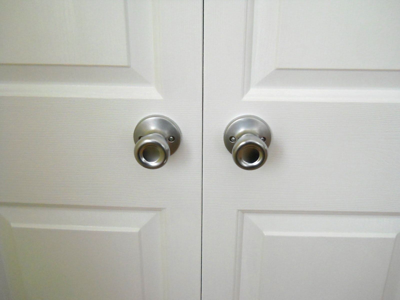 How to install bifold closet doors - I Also Installed Dummy Knobs On Each Door And Ball Catches At The Top To Hold The Doors Shut