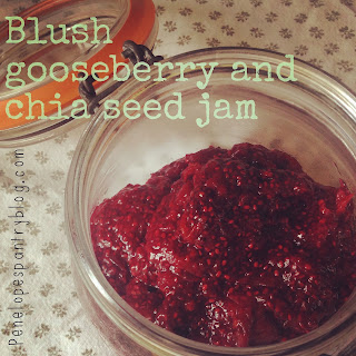 Blush gooseberry and chia seed jam, quick, easy and perfect for beginners