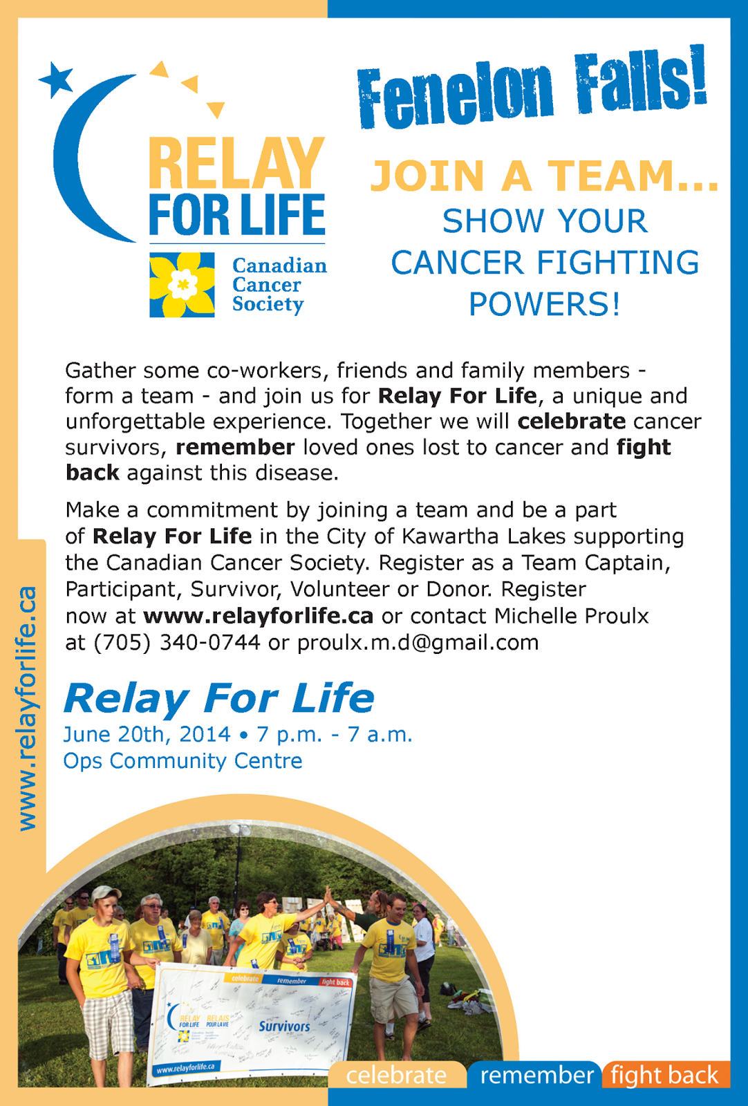 image Relay for Life Fenelon Falls Poster with contact information