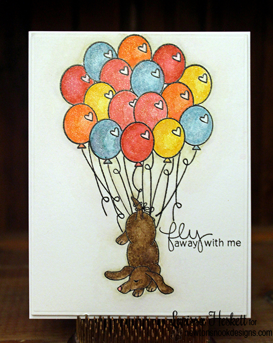 Dachshund  with Bundle of Balloons | Card by Larissa Heskett  | Delightful Doxies Stamp set by Newton's Nook Designs