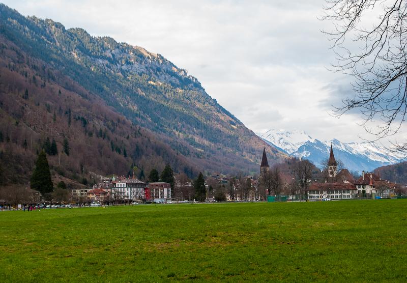 the scenery and landscape of interlaken switzerland in spring