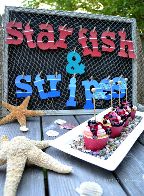 starfish and stripes 4th of july cupcakes nautical