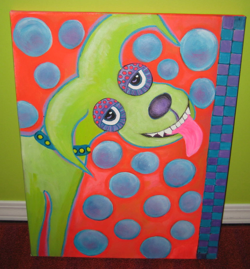 ... of a folk art dog named Bubbles. My adult kids really don't like it.