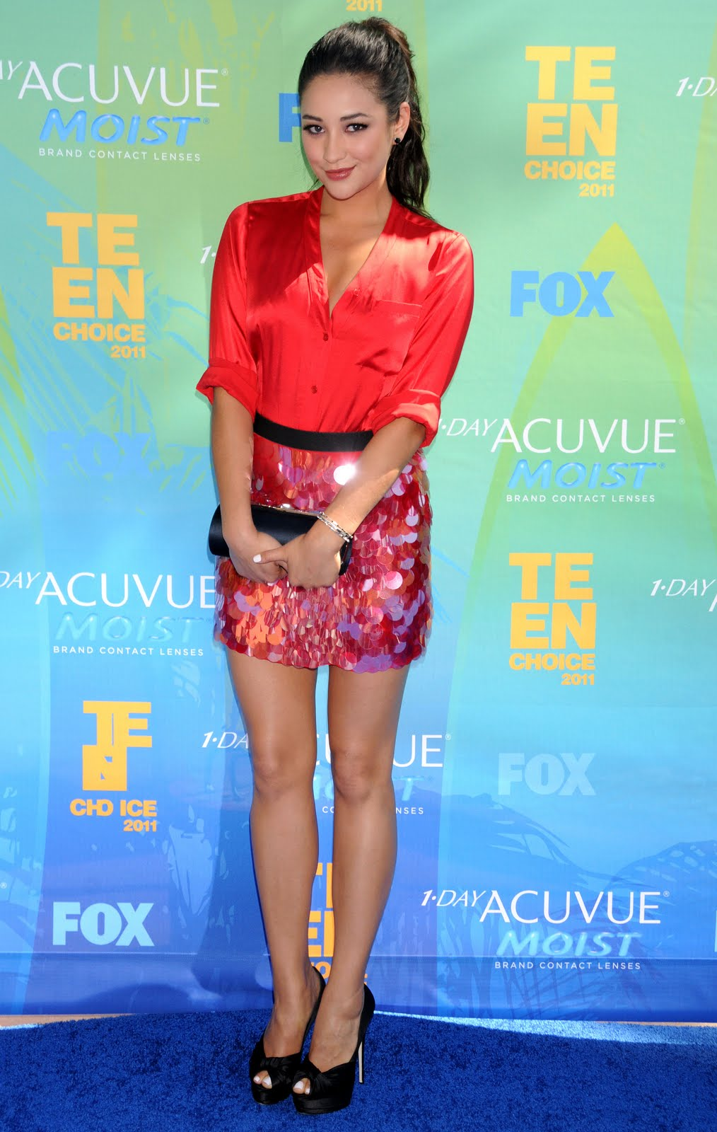 shay mitchell - red satin blouse