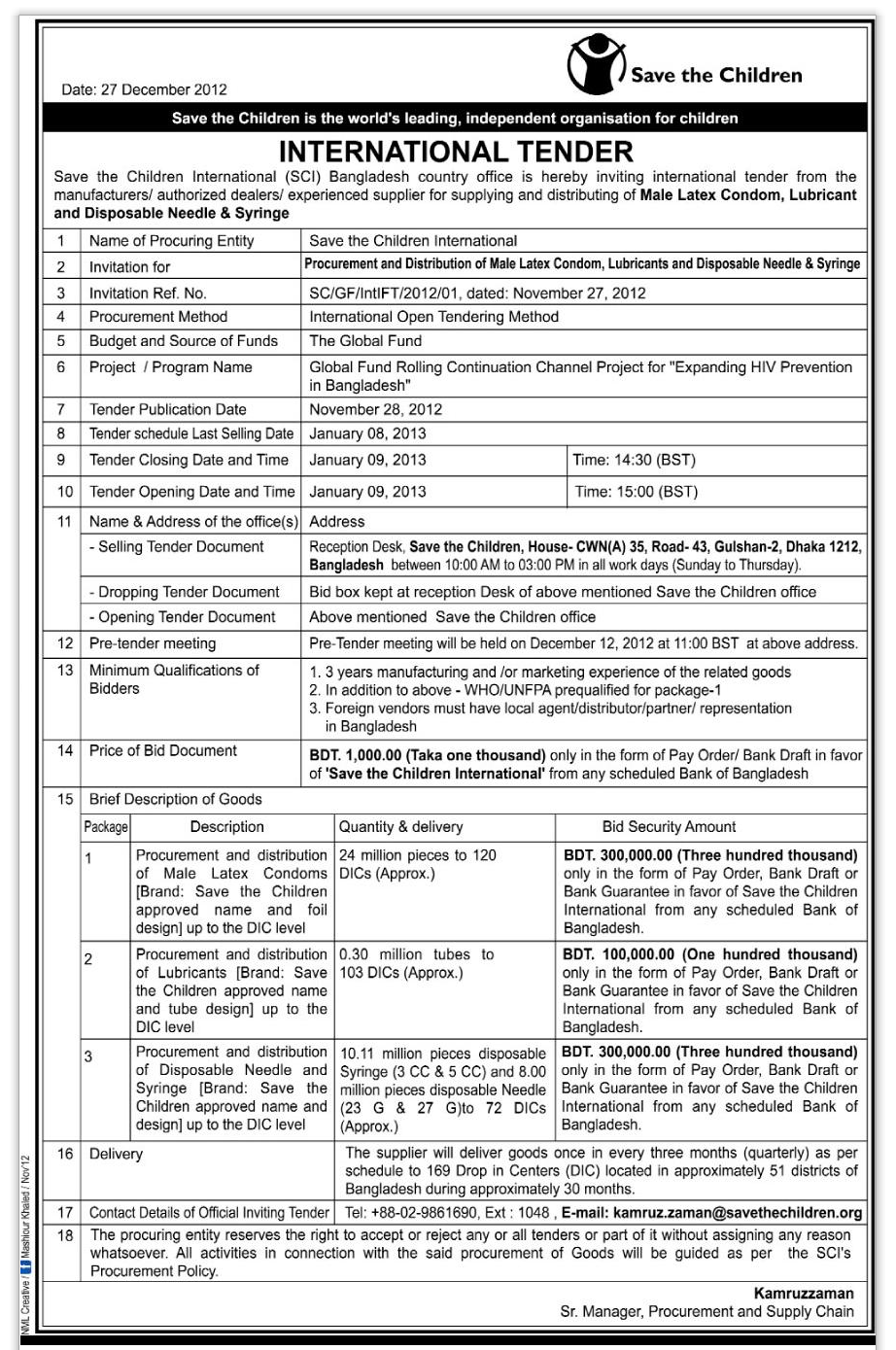 Save the Children Bangladesh Country Office ,International Tender