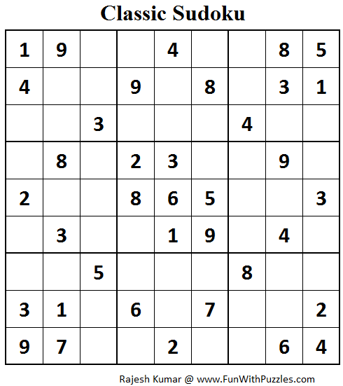 Classic Sudoku (Fun With Sudoku #73)