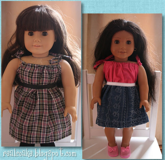 American Girl Doll pattern to make a darling drawstring dress. #AmericanGirlDoll #Sewing #RealCoake