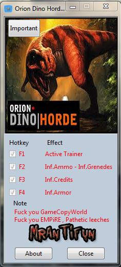 Orion Dino Horde V1.0.8767.0 Trainer +4 MrAntiFun
