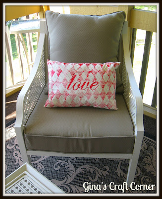 Painted Fabric Pillow with Stamping