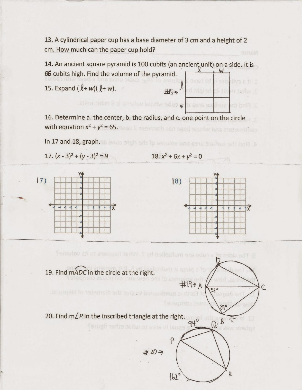 Geometry, Common Core Style: Chapter 10 Test (Day 144)