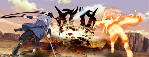 Naruto and Sasuke killing jubi