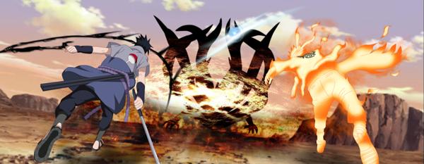 Naruto and Sasuke killing jubi