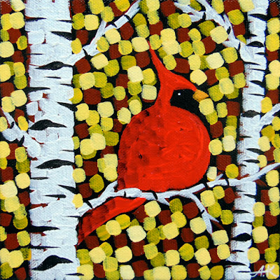 Golden Curtain No. 1-3, Cardinal painting by aaron kloss, art, pointillism