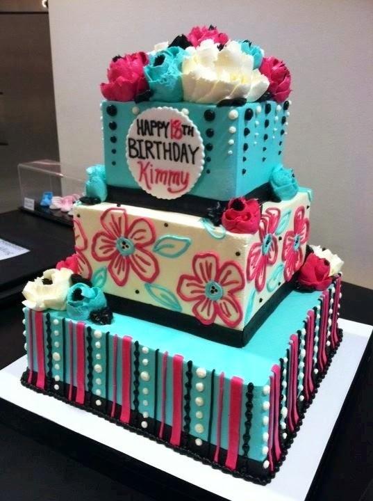 The Sensational Cakes Teal Blue Pink 21st Birthday Cake Singapore