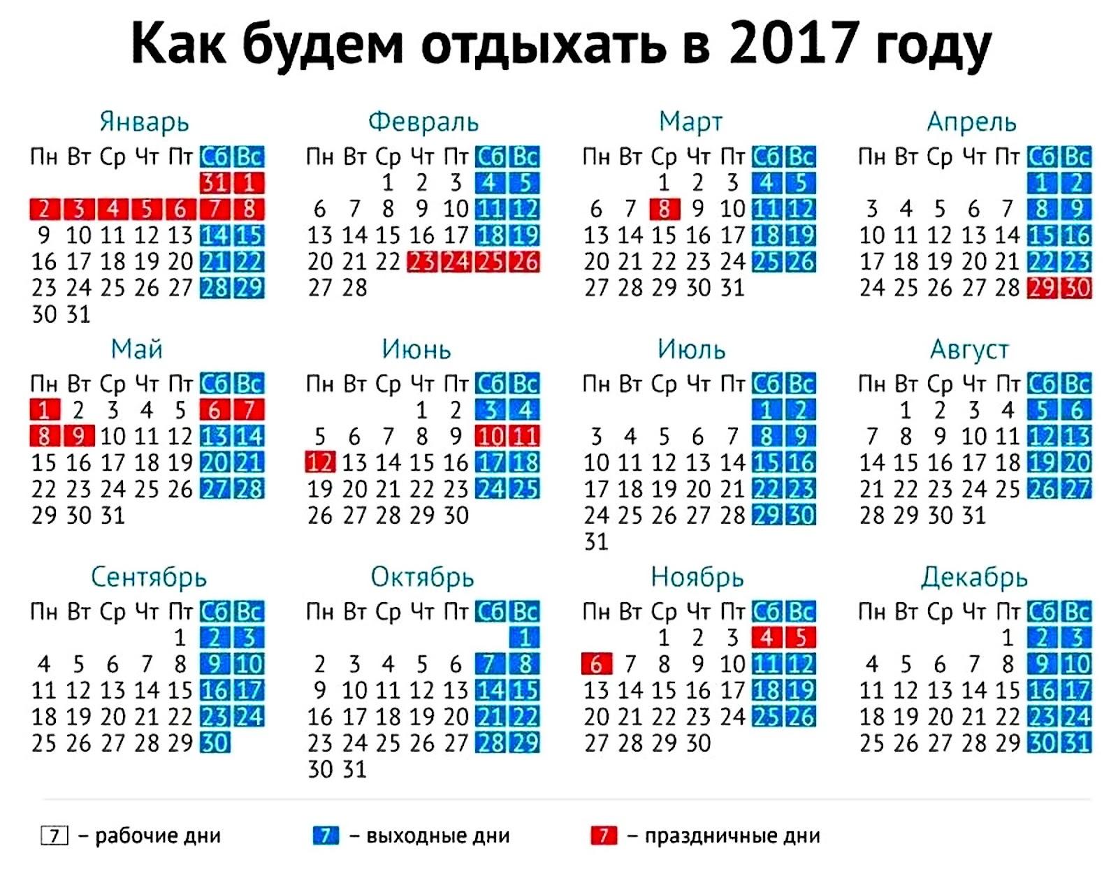 Праздничные дни на новый год 2017 в рф