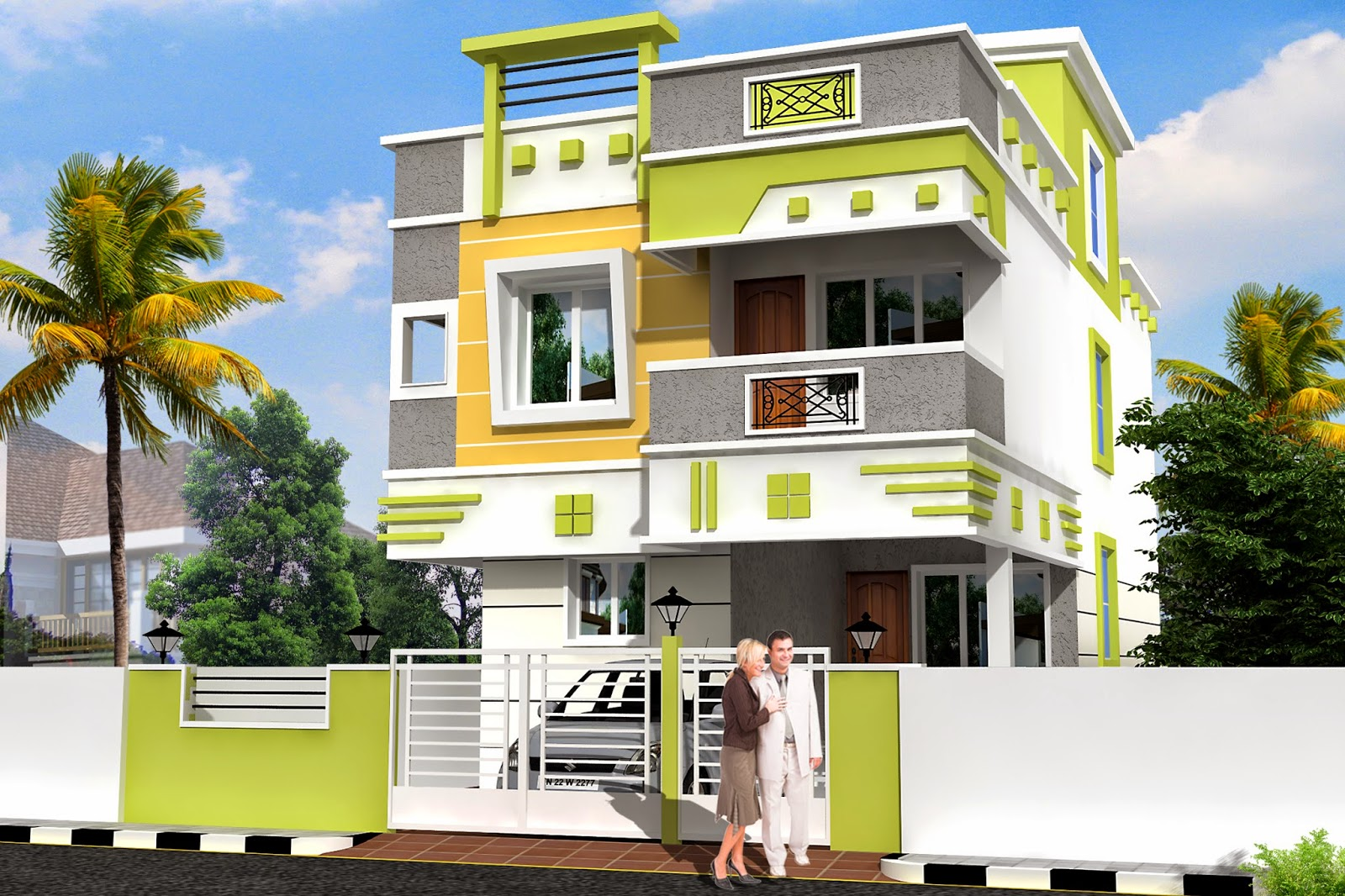 3d residential building elevation joy studio design for Elevation design photos residential houses