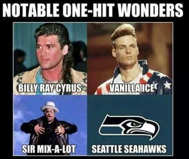 Notable one-hit wonders billy ray cirus, vanilla ice, sir mix-a-lot, seattle seahawks
