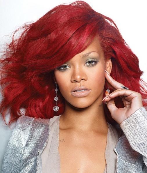 Great Fantastic Hairstyles Haircuts Rihanna Red Hair Color