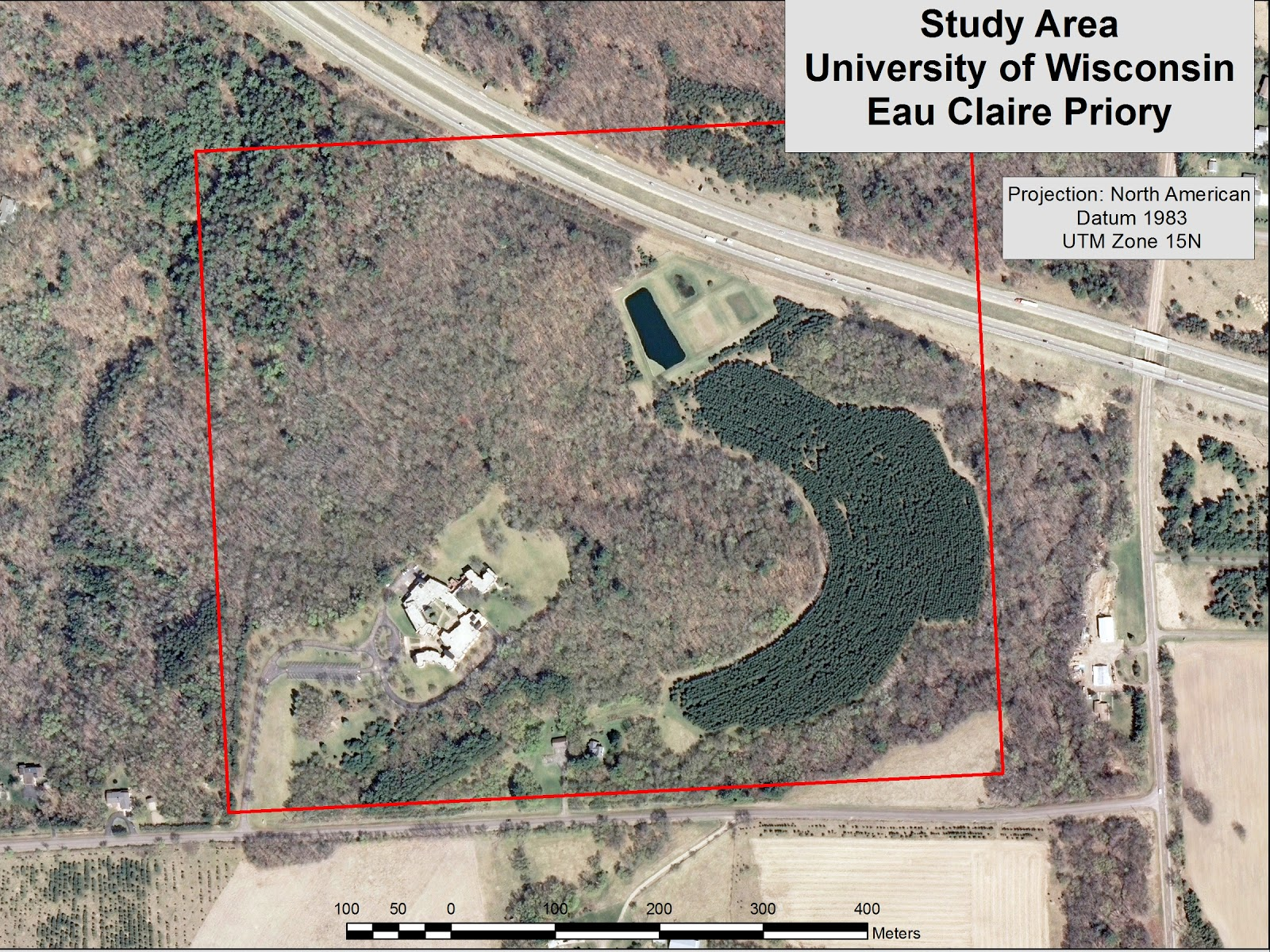 figure 1 below shows the location of the priory from the uwec campus having already navigated this course we were familiar with the terrain making it much