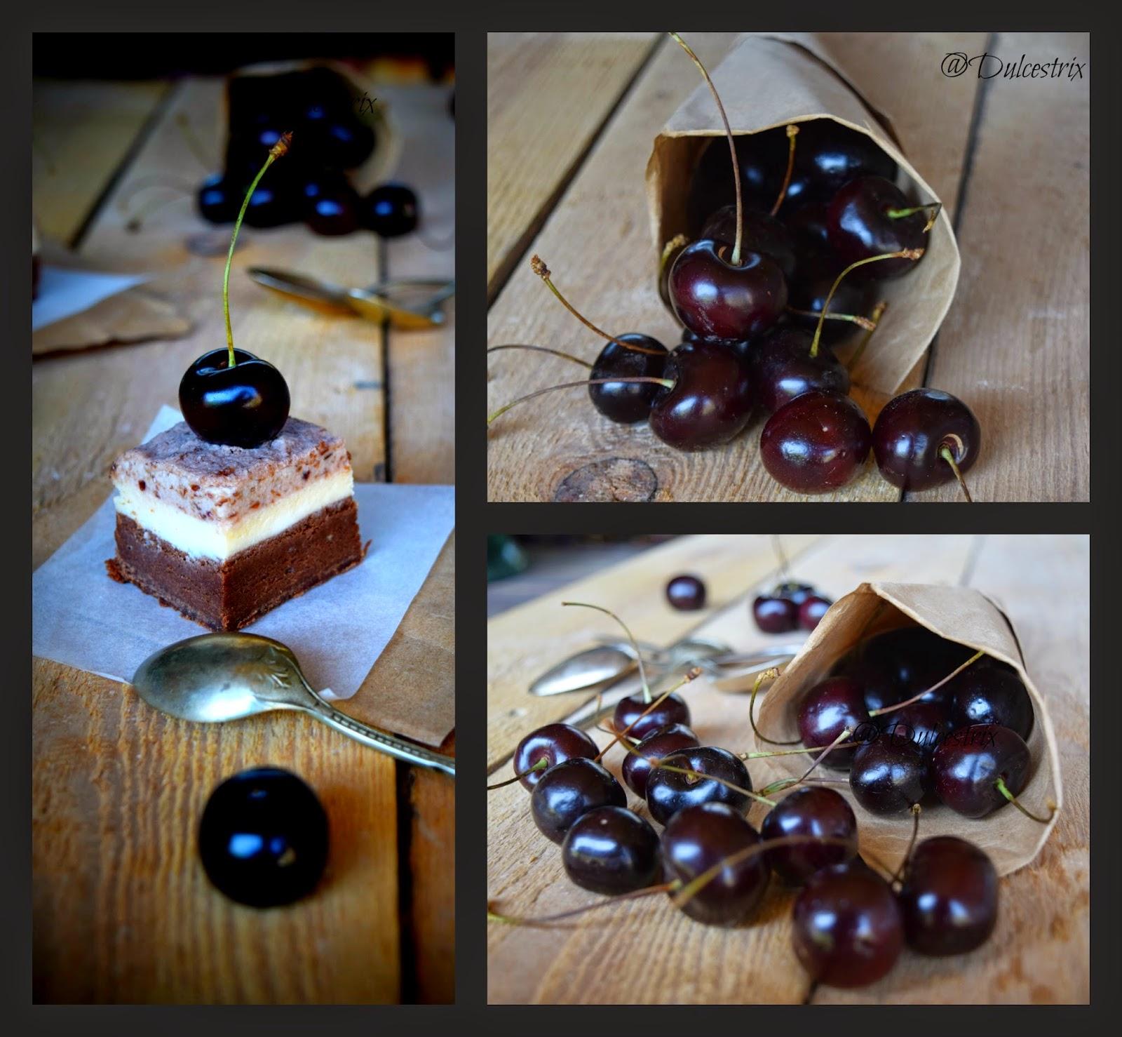 Brownie de cerezas y pastel de queso
