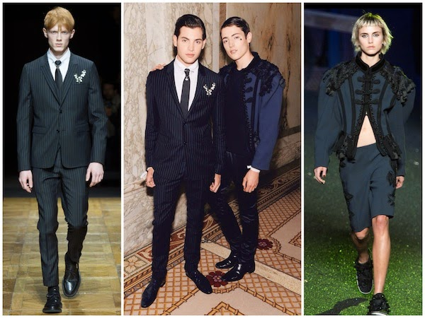 Peter Brant Jr Dior Homme Fall Winter 2014 pinstripe suit with lily of the valley and Harry Brant Marc Jacobs Spring Summer 2014 tassels blue coat amfAR Inspiration Gala 10 June 2014 New York City