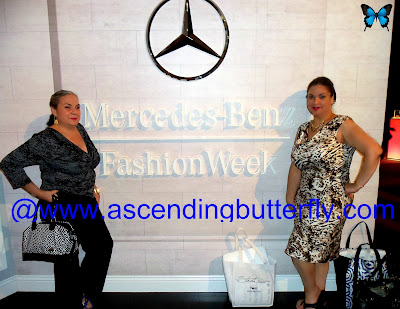 Tracy from Ascending Butterfly at the #STRUTMOMS Show during Mercedes-Benz Fashion Week in New York City in front of Mercedes Benz Fashion Week Logo
