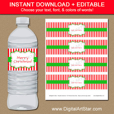 printable Christmas water bottle labels with editable text and red & white stripes