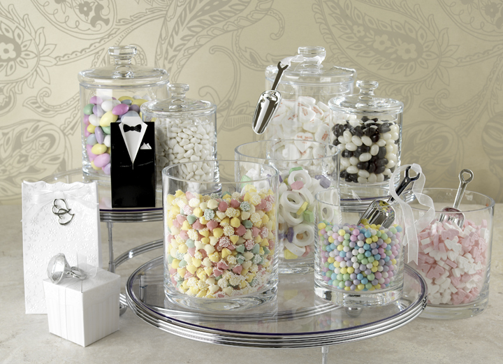 Wedding Candy Buffet Ideas Red White Silver Black