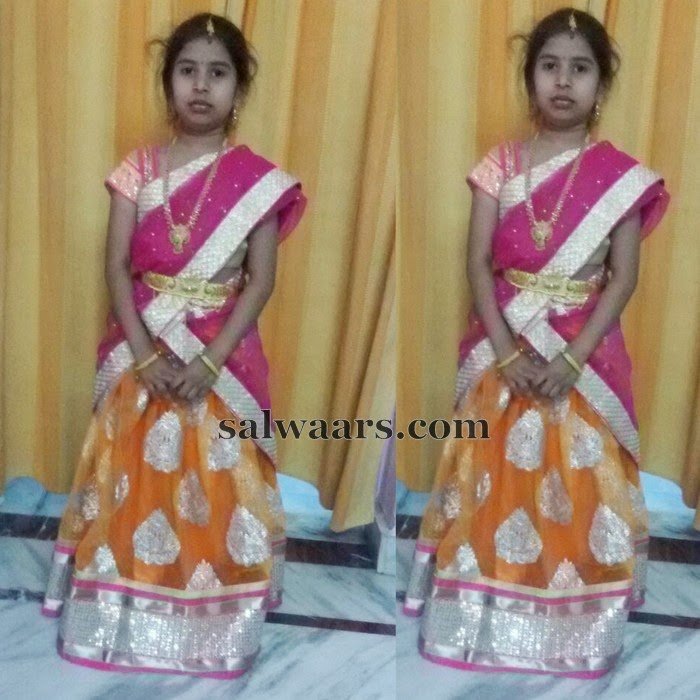 Baby in Mustard Shimmer Half Sari