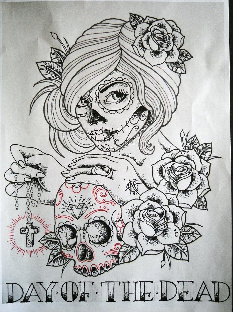 31 desenhos catrina leles tattoo for Day of the dead tattoo designs