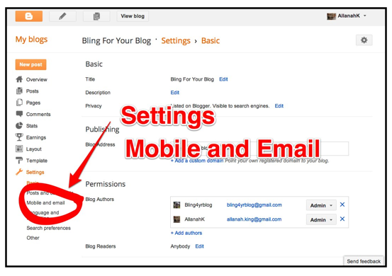change blogger email address