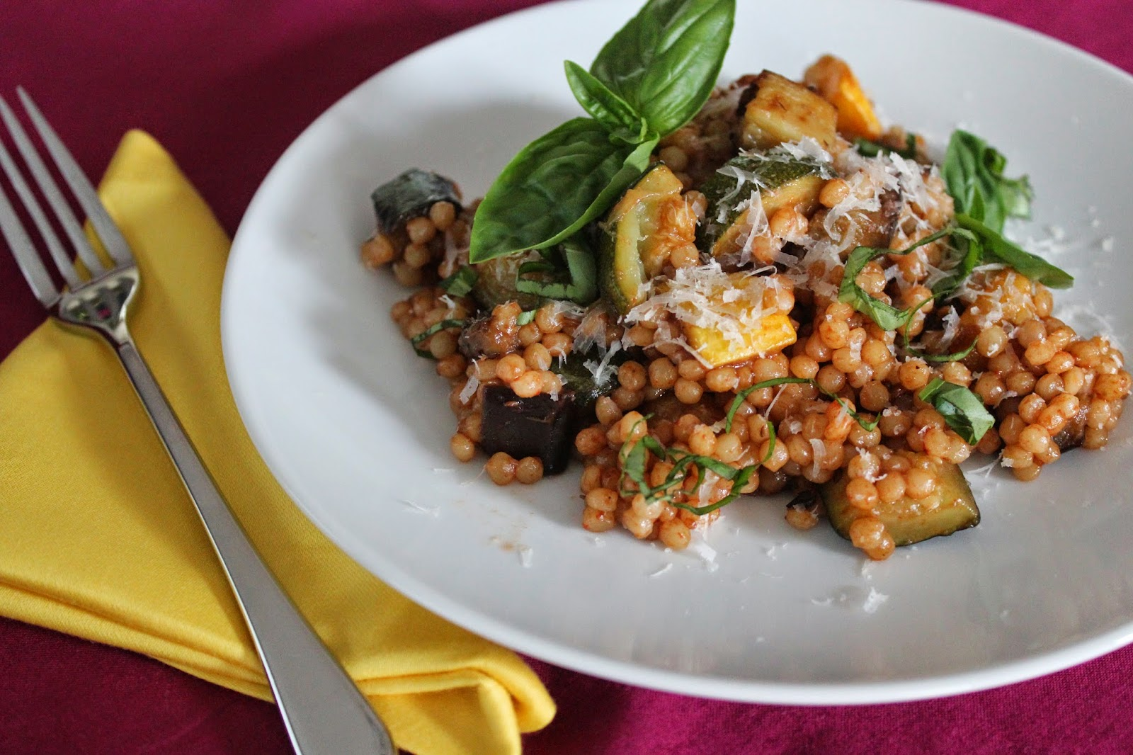 Israeli couscous with roasted squash and eggplant and Parmesan