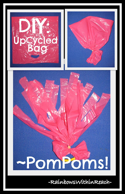 DIY PomPom shakers from UPcycled plastic bags