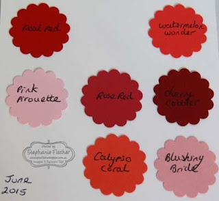 Stampin' Up! new in-colours 2015-17 Pink, Red, comparison