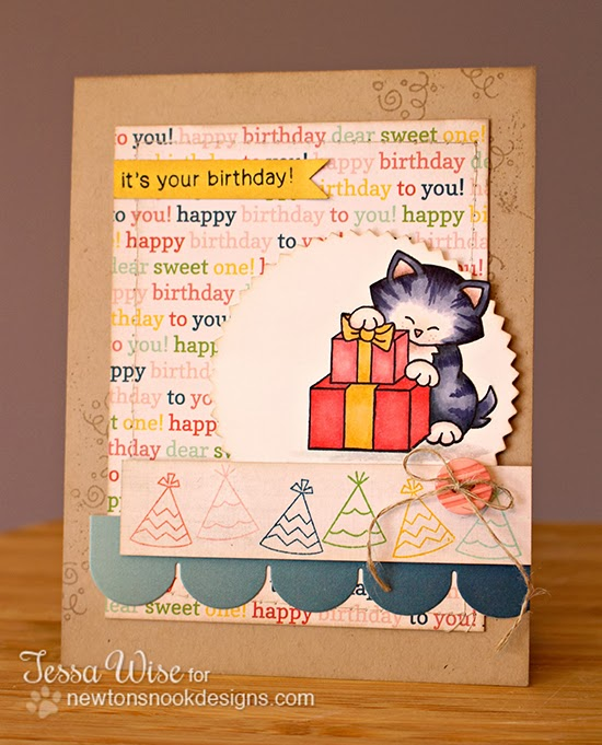 Newton's Birthday Bash Cat Card by Tessa Wise for Newton's Nook Designs