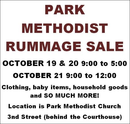 10-19/20/21 Park Methodist Rummage Sale