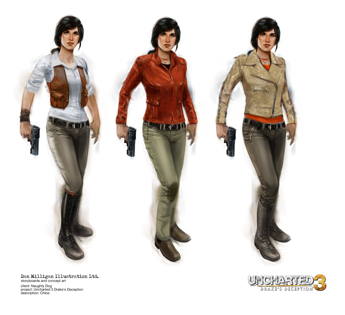 Uncharted 3 Chloe ideations