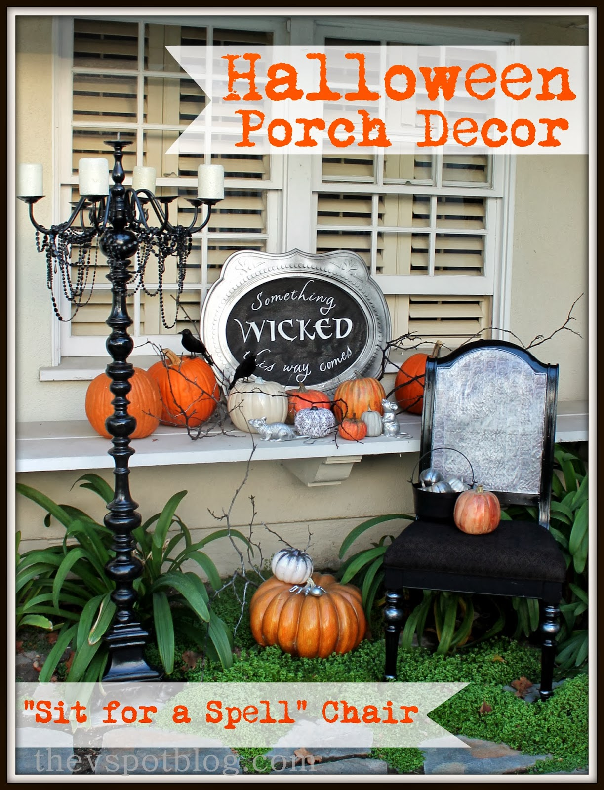 spooky porch decor and a halloween chair - Halloween Porch Decorating Ideas