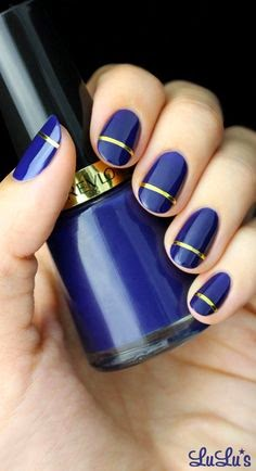Indigo Blue and Gold Striped Nail Tutorial