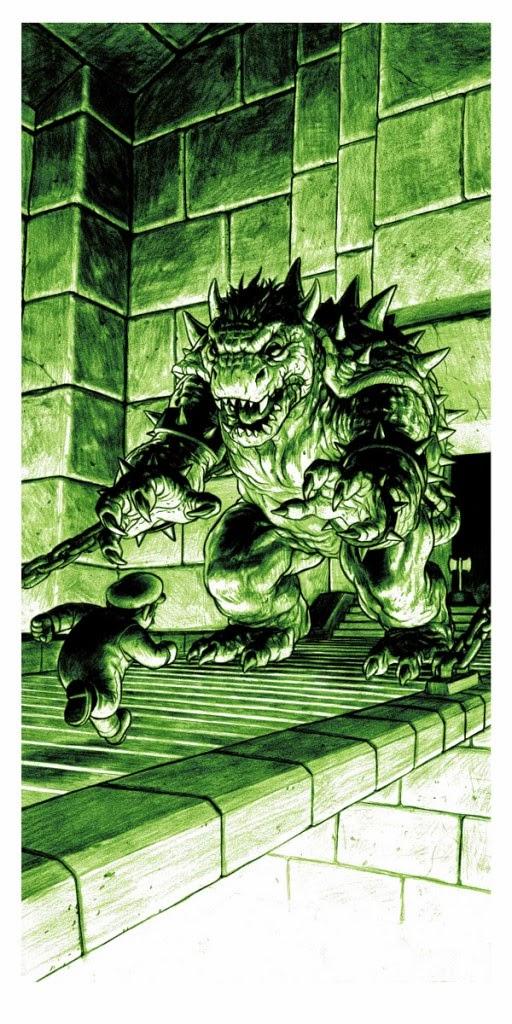 Boss Fight! Video Game Themed Print Series by Nick Derington - The Lizard Super Mario Bros Screen Print