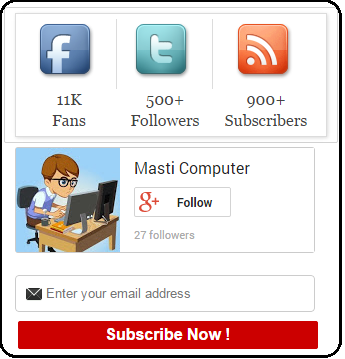 Add All-in-One Social Media Subscription Widget in Blogger Blog By MastiComputer
