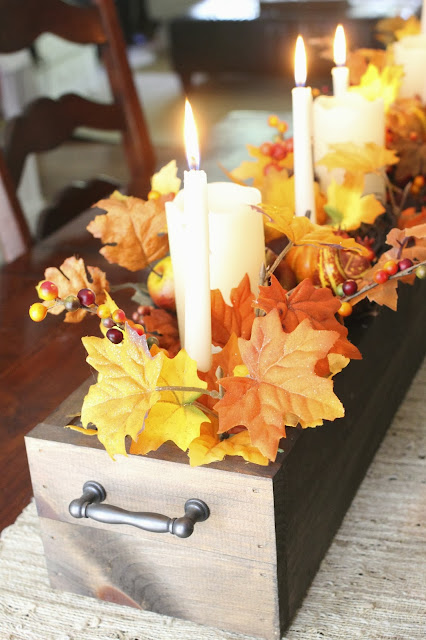 DIY Autumn centerpiece with reclaimed wood/ fall home tour via www.goldenboysandme.com